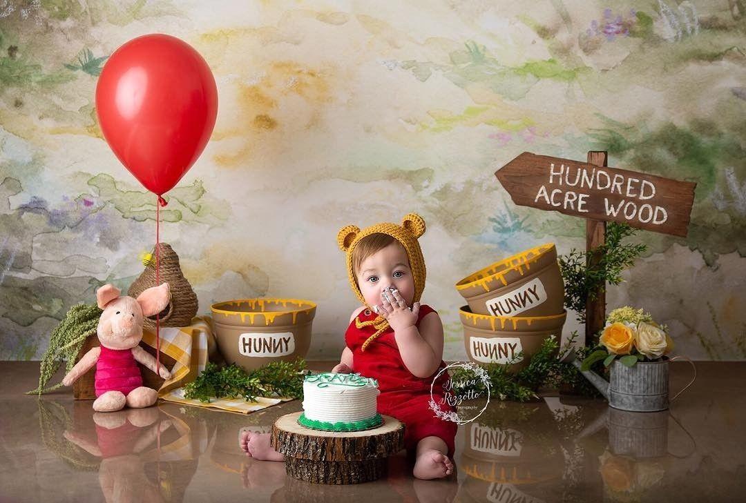 Boy cake smash session winnie the pooh inspired winnie