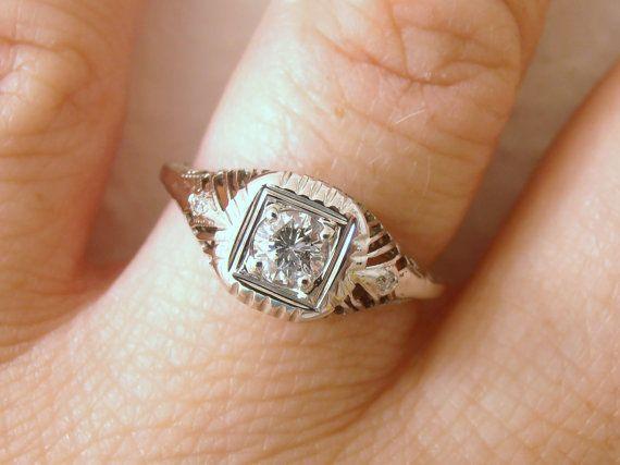 Vintage Art Deco 20 carat Diamond and 18k White by RiordanStudio