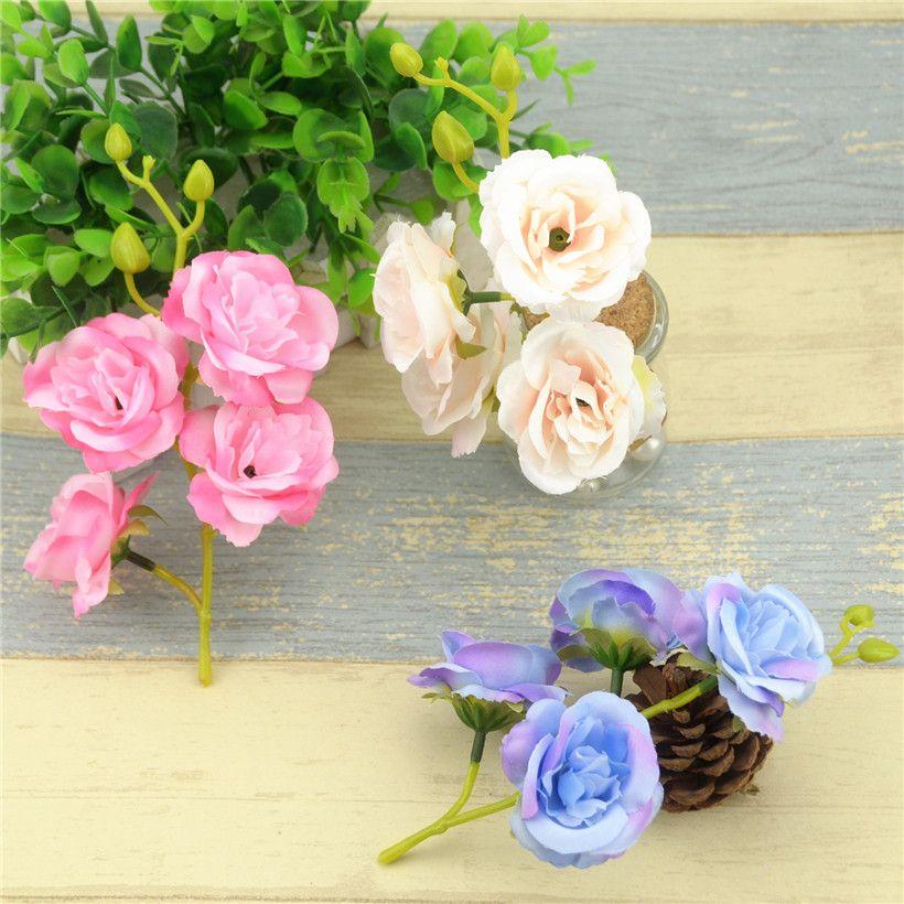 Cheap Artificial Rose With Stem Silk Flower Bouquet Head For Wedding ...