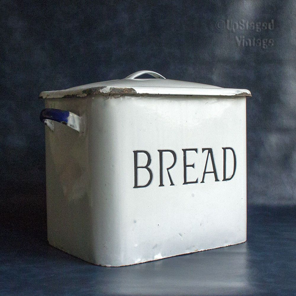 Traditional Rustic Vintage 1930s 50s White Enamel Bread Bin With Lid Free Uk P