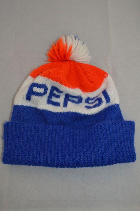 Vintage PEPSI-COLA PEPSI Logo 80 s Knit Winter Stocking Hat Pom Ski ... 588281e8523