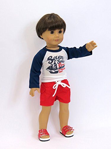 """Pirate Rash Guard and Trunks Set Fits 18/"""" American Girl Doll Clothes"""