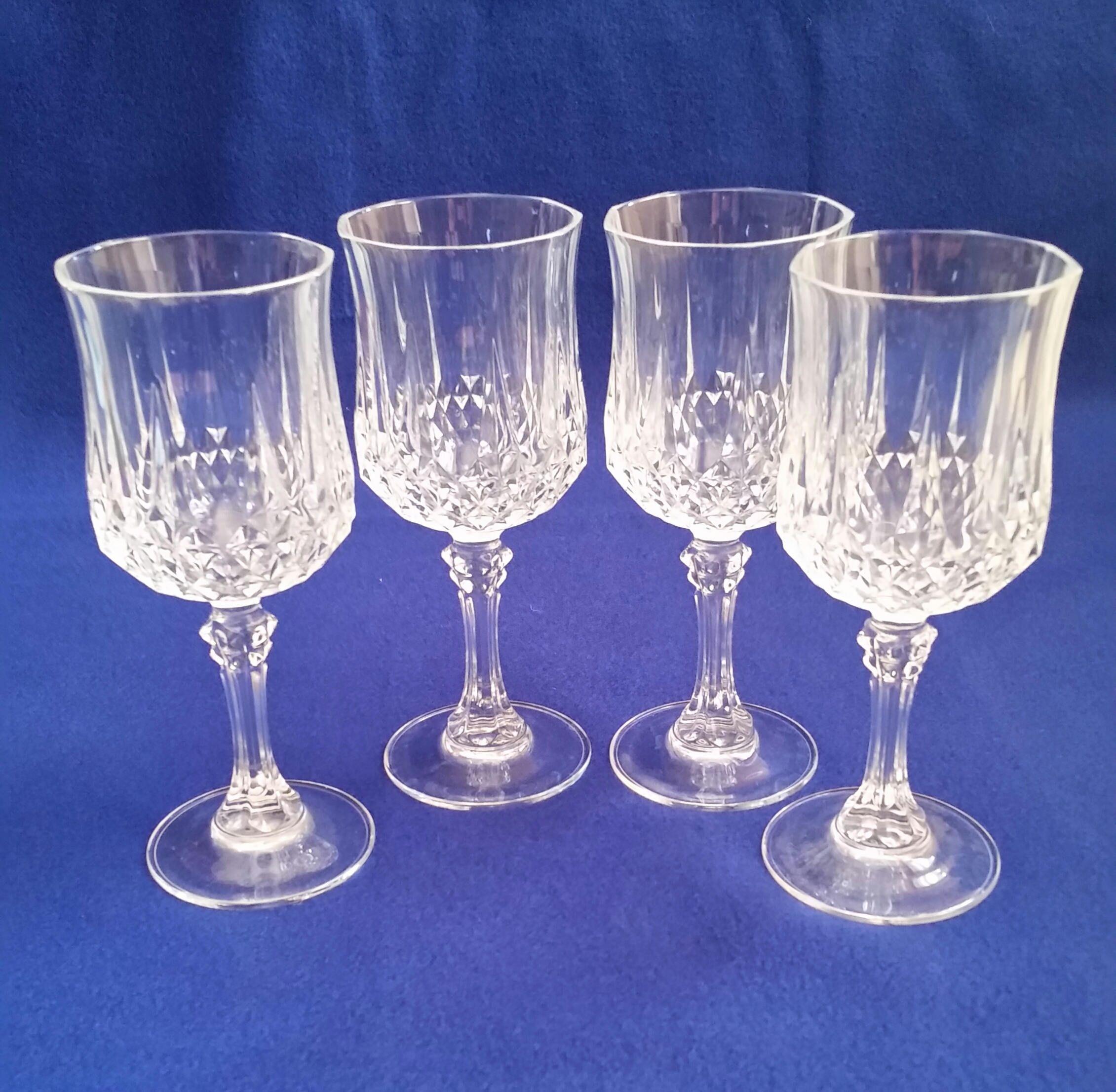 Cristal D Arques Longchamp Wine Glasses Crystal Wine Glasses Vintage Wedding Crystal Wine Glasses Wedding Crystal Barware Crystal Set Of 4 Wedding Wine Glasses Crystal Wine Glasses Crystal Stemware