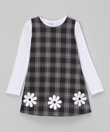 19968d267670 Black   White Plaid Jumper   Top - Infant