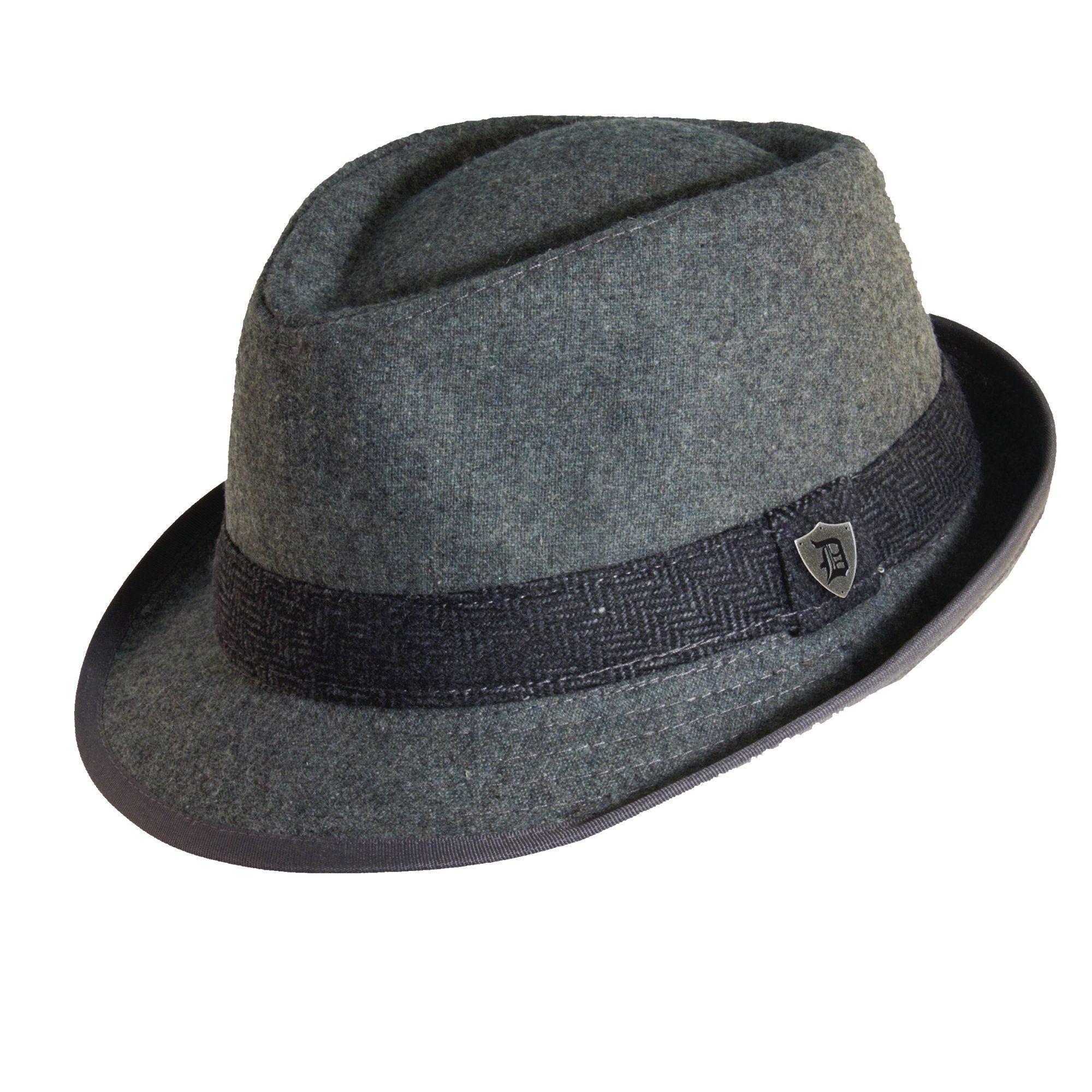 163f6e269604 Dorfman Pacific Men's Wool Blend Fedora Hat with Herringbone Band ...