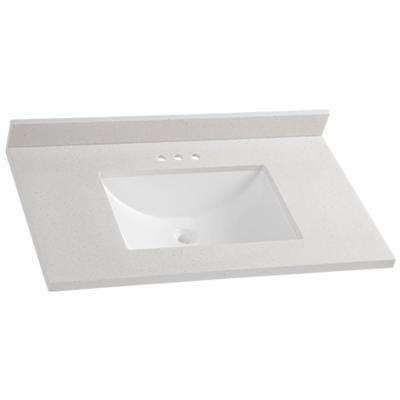 37 In Solid Surface Vanity Top In Titanium With White Basin