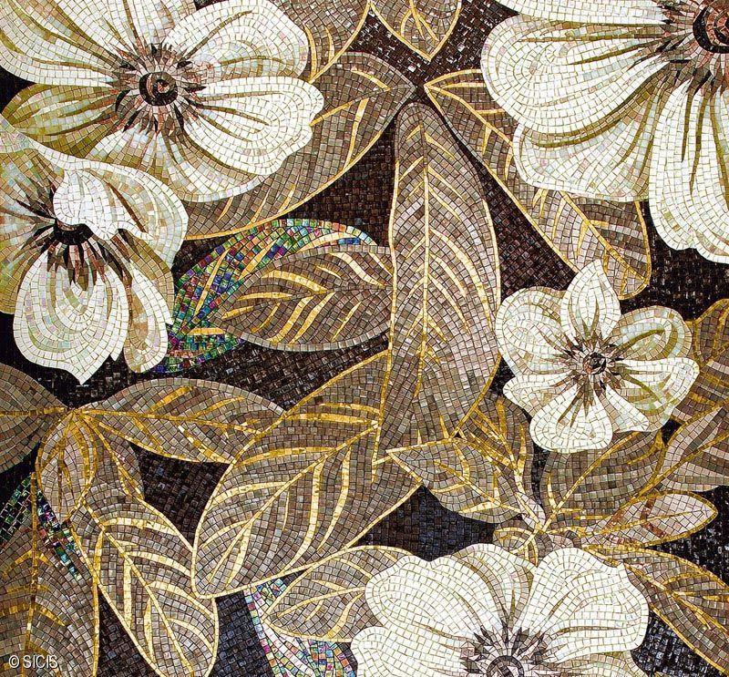 Vetrol Golden Floral Mosaic Tile Sicis Mosaic Arts
