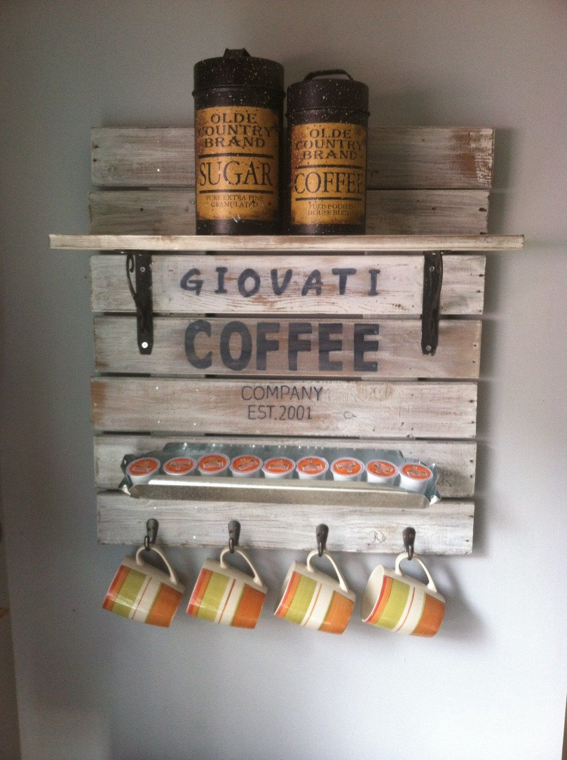 Coffee Station Coffee Cup Rack Rustic Coffee Station Personalized Signs Coffee Bar Sign Kitchen Signs Coffee Mug Display Coffee Mug Holder Coffee Signs