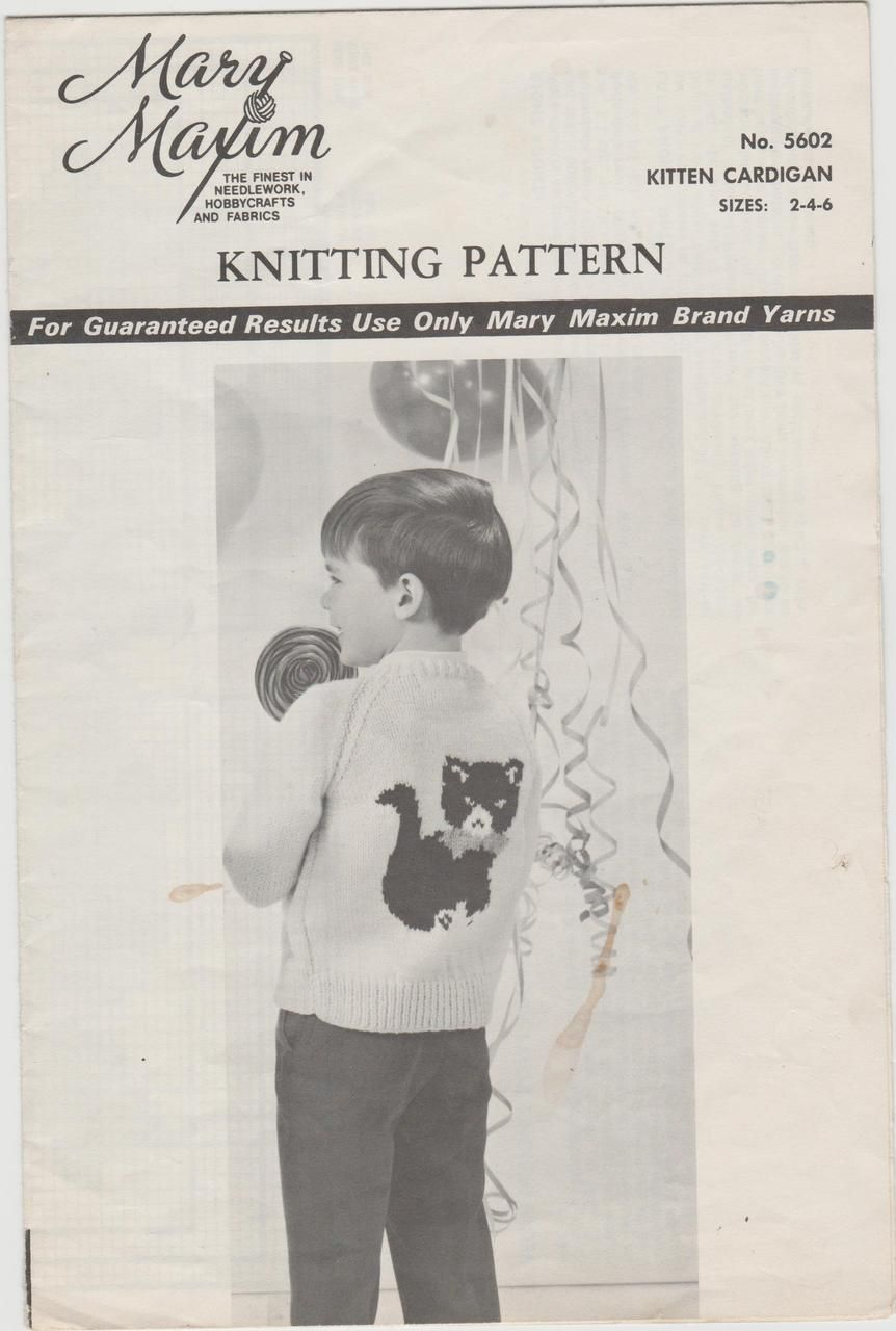 See Sally Sew-Patterns For Less - Kitty Cat Child\'s Knit Cardigan ...