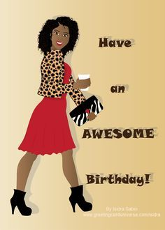 Happy Birthday Card For Women Beautiful Black African American Woman Wearing