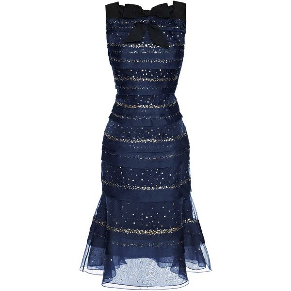 Carolina Herrera Sequin Silk Organza Dress (240,165 DOP) ❤ liked on Polyvore featuring dresses, square neck dress, bow dress, sequin cocktail dresses, blue sequin dress and blue tiered dress