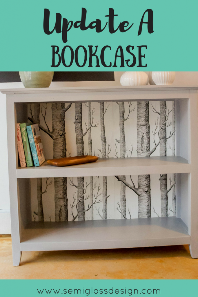 amazing bookshelf makeover with wallpaper and paint furniture diy rh pinterest com
