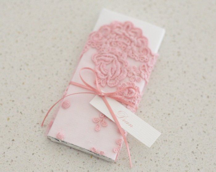 Pink Vintage Lace Personalised Chocolate Bar Christening Bonboniere