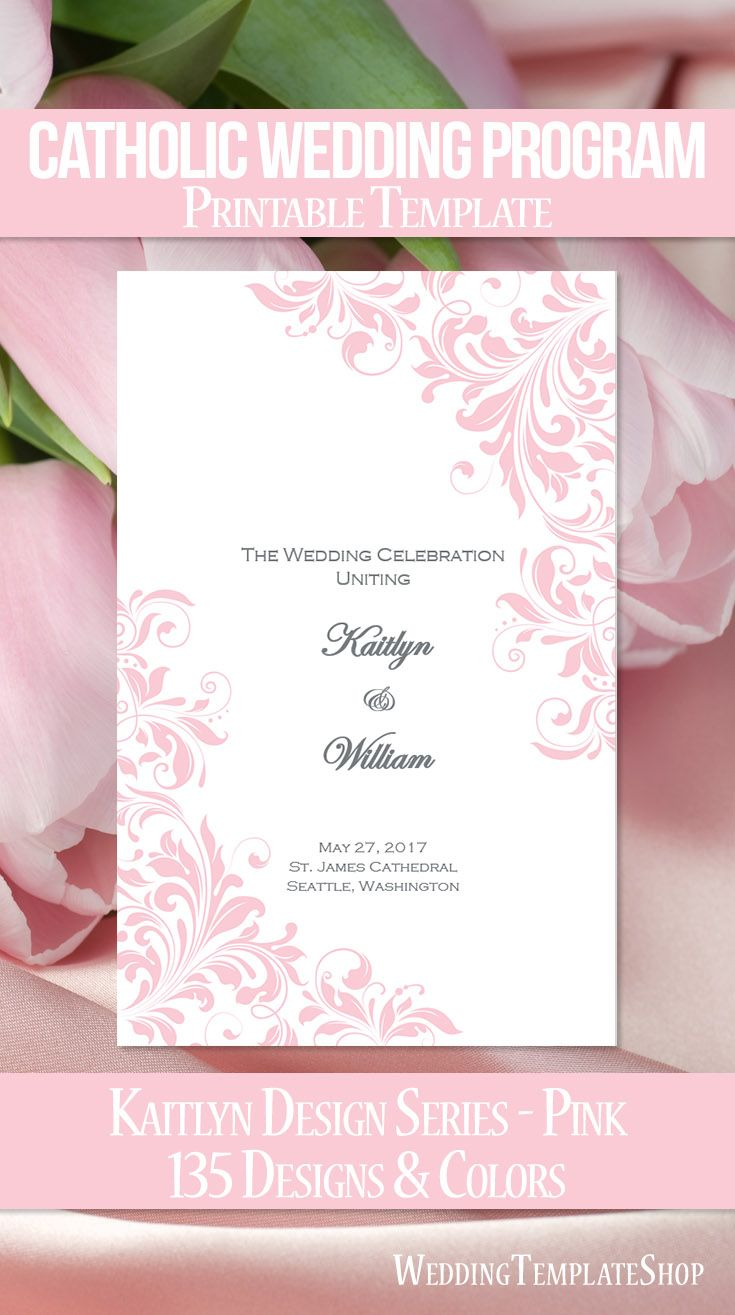 Catholic Church Wedding Program Kaitlyn Pink  Wedding Programs