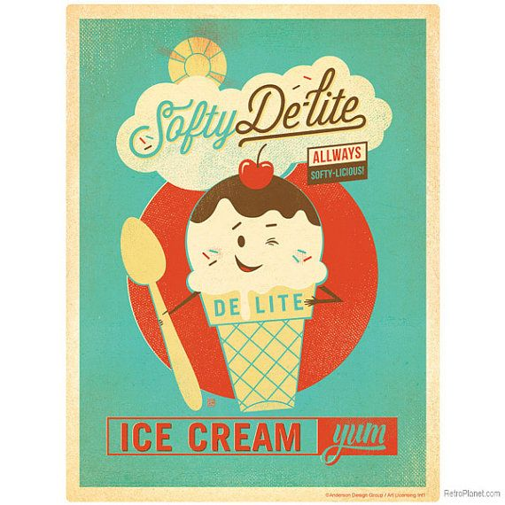 Softy Delite Ice Cream Parlor Wall Decal 41702 by RetroPlanetUSA ...