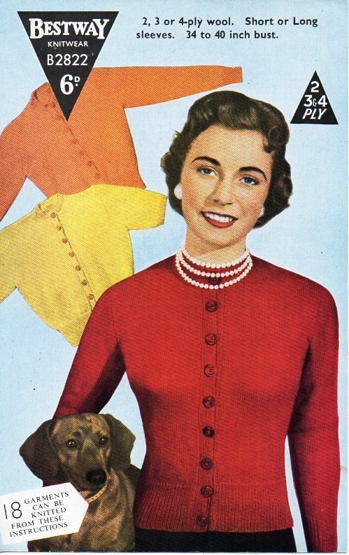 """ladies knitting pattern pdf download ladies cardigan vintage 50s button through fitted 2 ply 3 ply or 4 ply fingering 34-36"""" by Hobohooks on Etsy"""