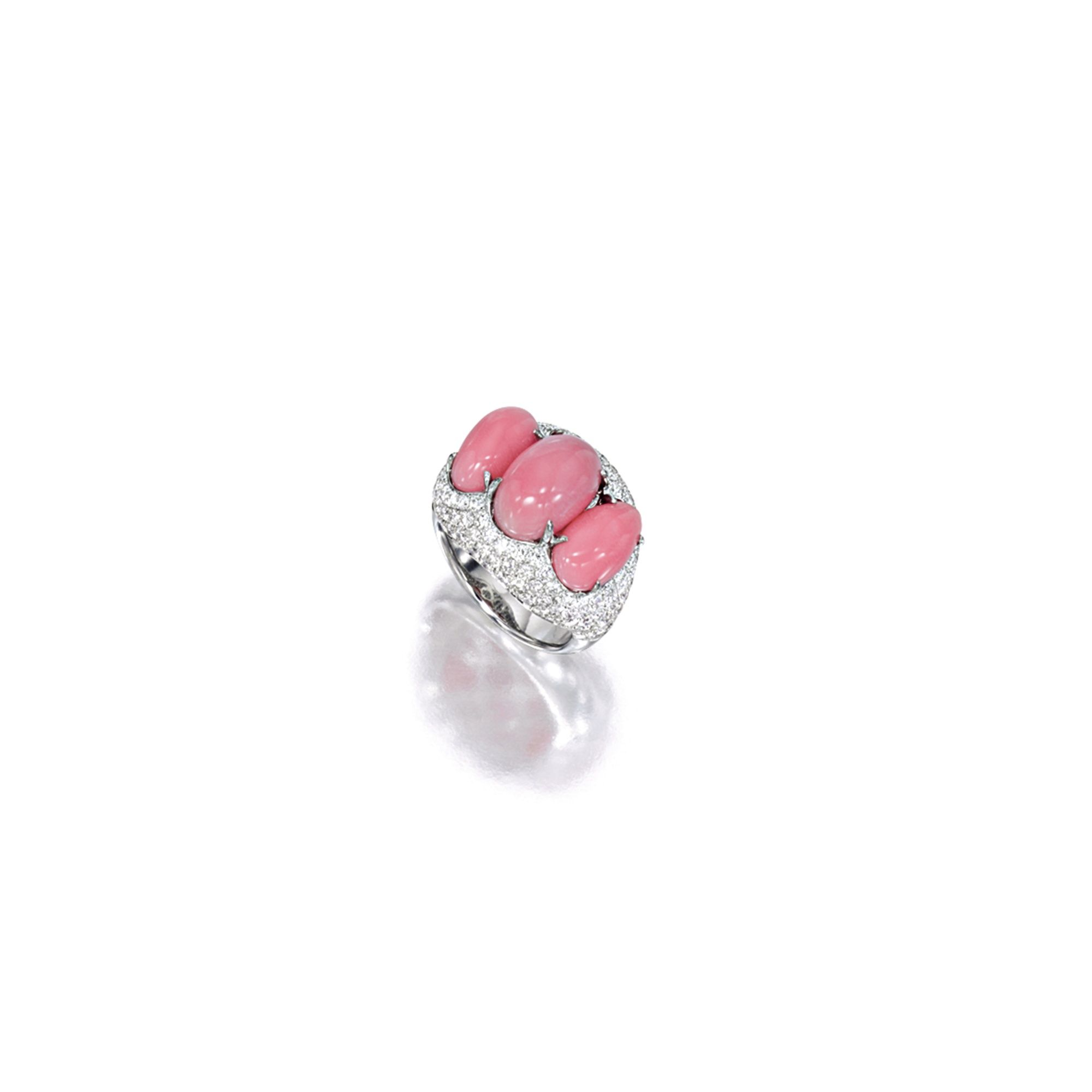 Conch Pearl And Diamond Ring Centring On Three Conch Pearls Measuring  Approximately 1208 X 766mm