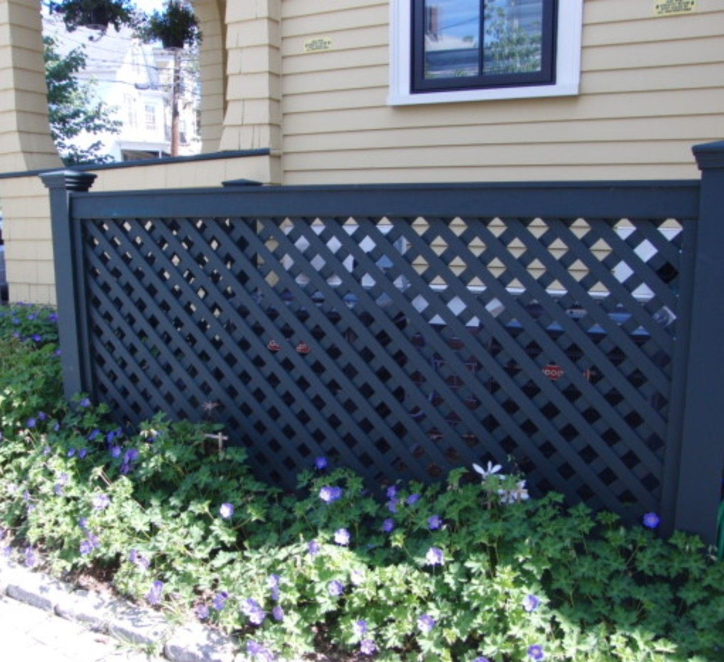 Paint the lattice black for a modern look at hiding the a