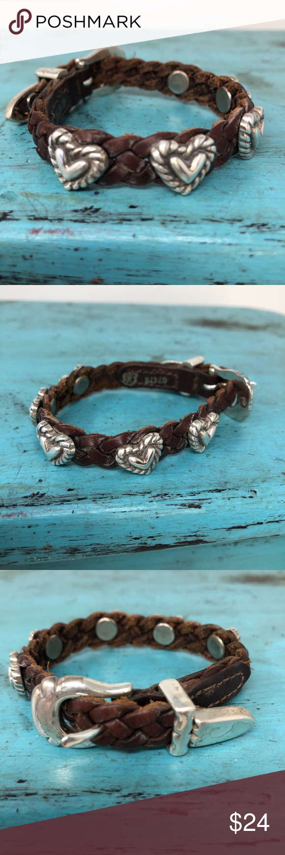 Brighton Roped Heart Braided Leather Bracelet Brighton Jewelry Roped Heart Bracelet 07475 Braided L Braided Leather Bracelet Leather Bracelet Braided Leather