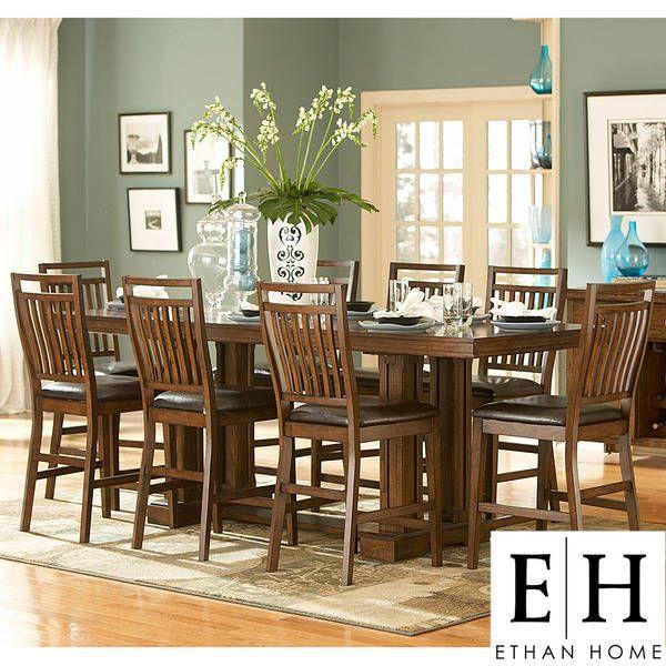 Harper 9Piece Mission Oak Counterheight Dining S  Dining Alluring Oak Dining Room Inspiration Design