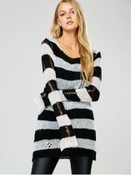 Hollow Out Stripe Crochet Tunic Sweater