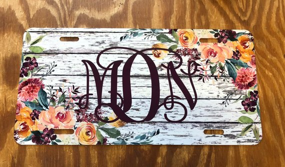 Rustic License Plate Monogram Personalized Distressed Wood Custom Name Car Tag