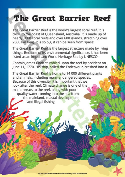 Great Barrier Reef - Comprehension and Note Taking Worksheet ...