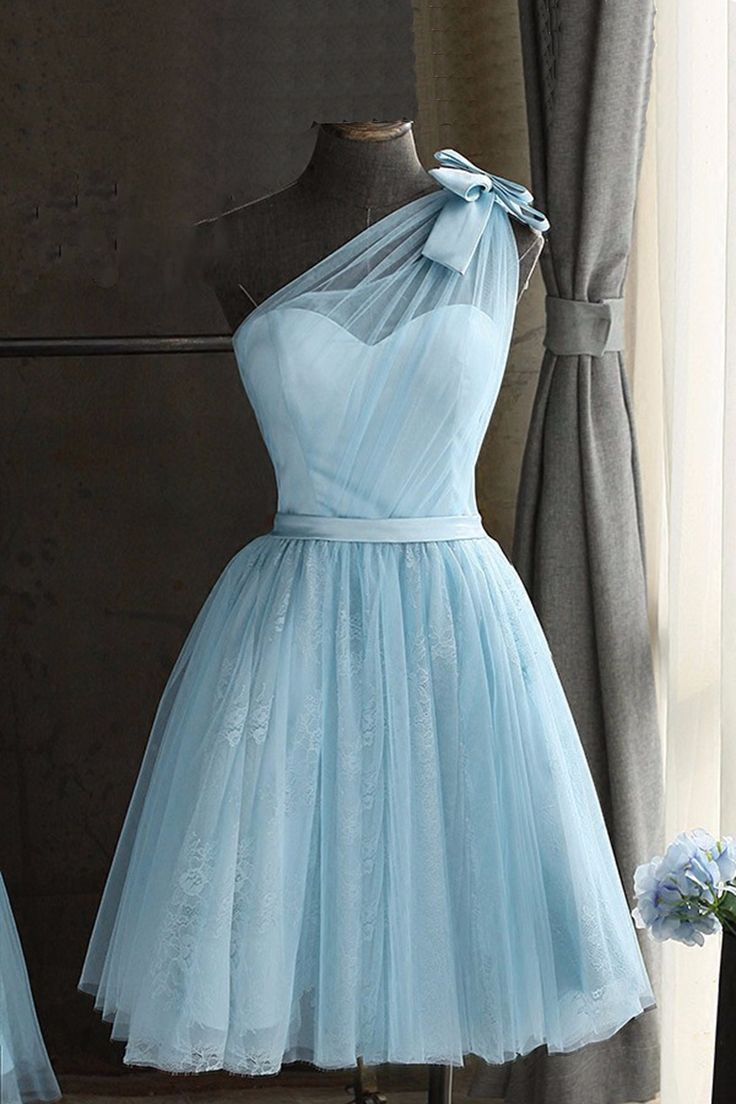 Cute blue tulle prom dress,one shoulder prom dress,homecoming party ...