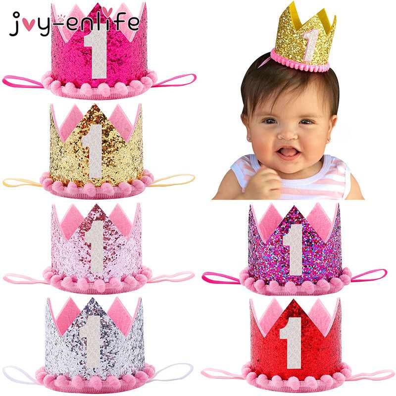 Baby Girl 1st//2nd Birthday Party Hat Hairband Princess Queen Crown Headband