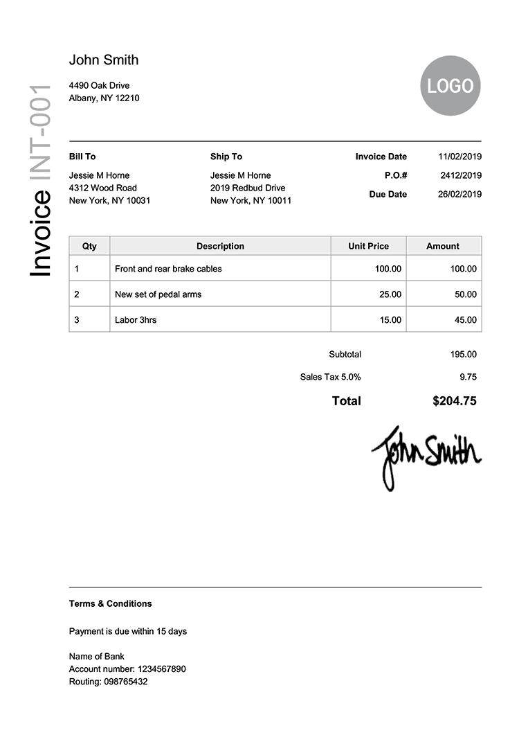 Invoice Template En Modern Black Invoice Template Receipt Template Invoice Template Word