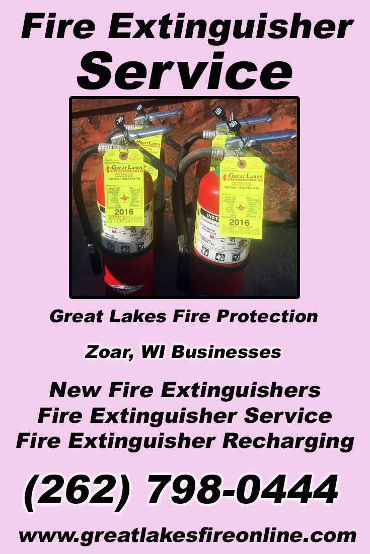 Fire Extinguisher Service Zoar, WI (262) 798-0444 Call the Experts at Great Lakes Fire Protection.. We are the complete source for Fire Extinguisher Service for Local Wisconsin Businesses We would love to hear from you.. Call us Today!