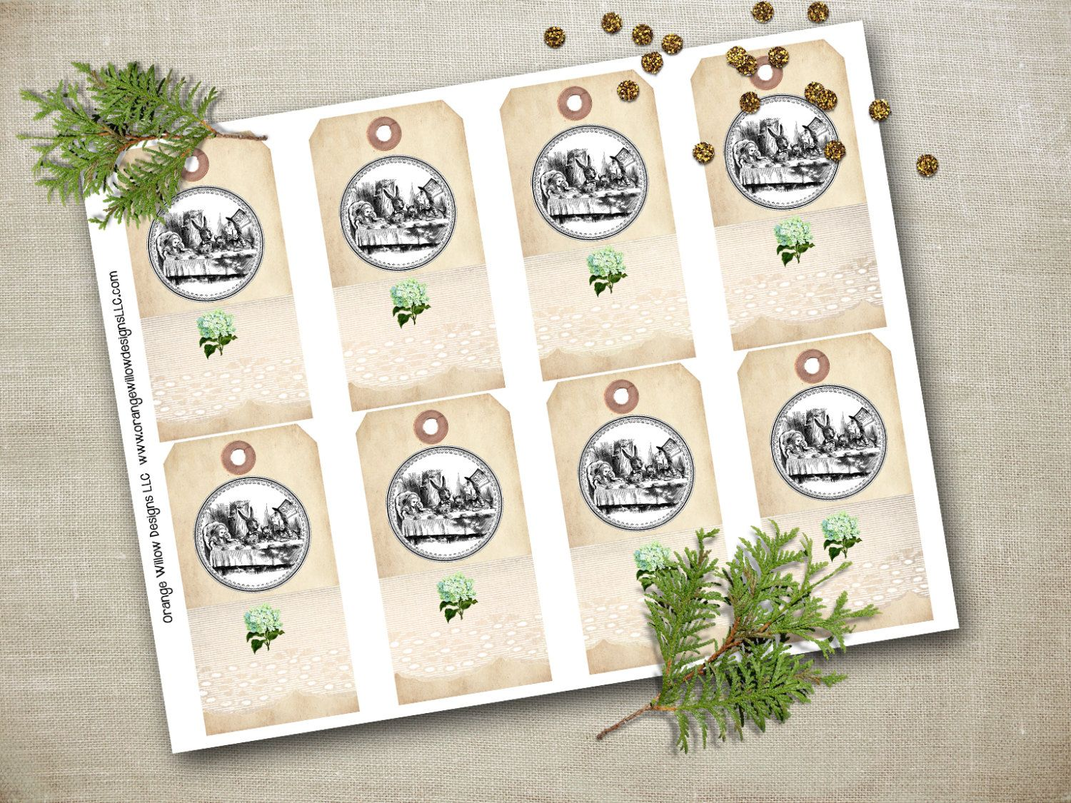 Alice in Wonderland Gift Tags Ornament Hang Tags, Natural Christmas Country Chic…