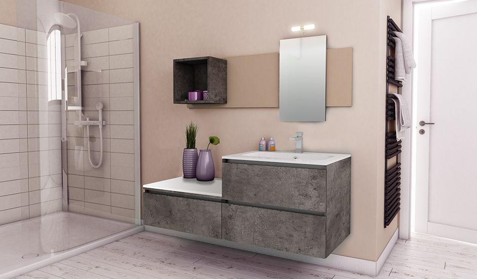 Une salle de bain fonctionnelle grâce à une prise en main intégrée dans les façades. Ambiance minérale et zen. (Cuisines You - Gamme Créative, Modèle Tanaga Sty'l)