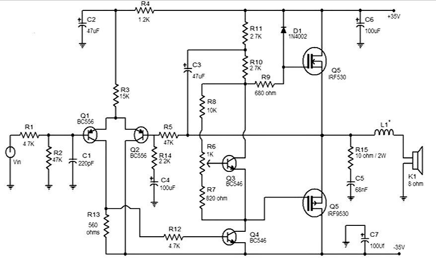 This is 50 watt MOSFET audio amplifier circuit diagram