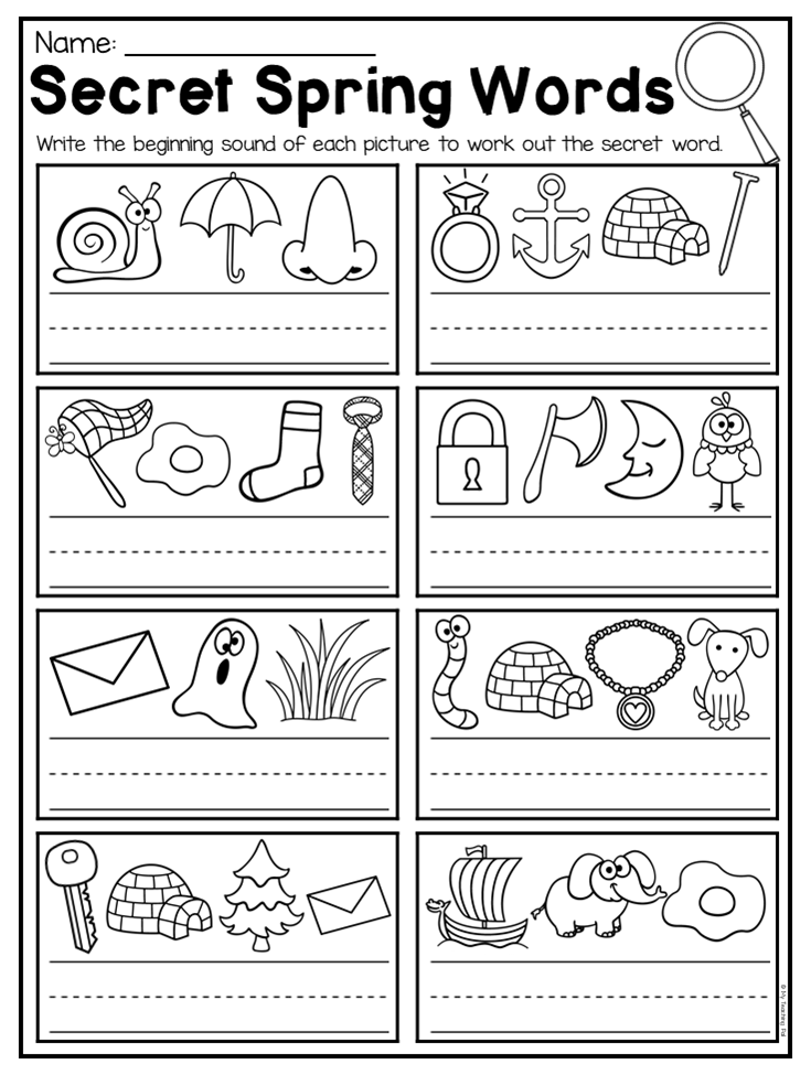 Spring Kindergarten Math and Literacy Worksheet Pack | Literacy ...