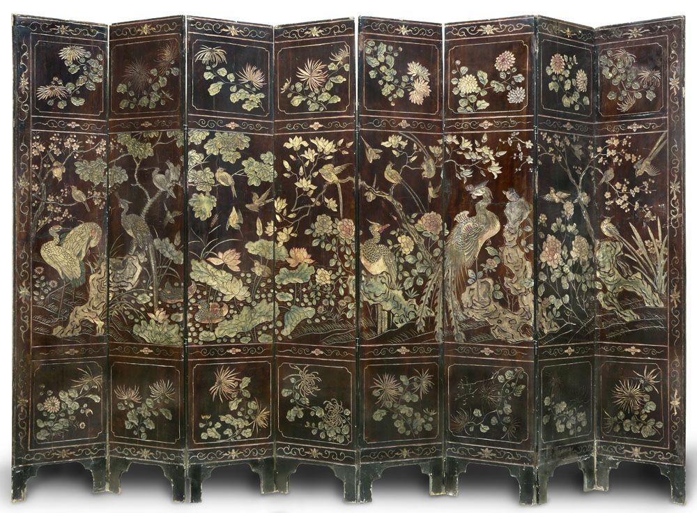 Antiguo biombo chino coromandel de ocho hojas sep 2014 naon muebles pinterest biombos - Biombos chinos antiguos ...