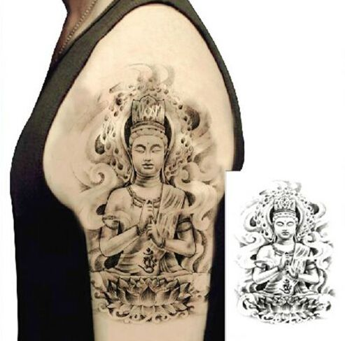 Temporary Tattoos Large Ca Arm 3d Buddha Graphic Waterproof Temporary Buddha Tattoo Design Best Sleeve Tattoos Marquesan Tattoos