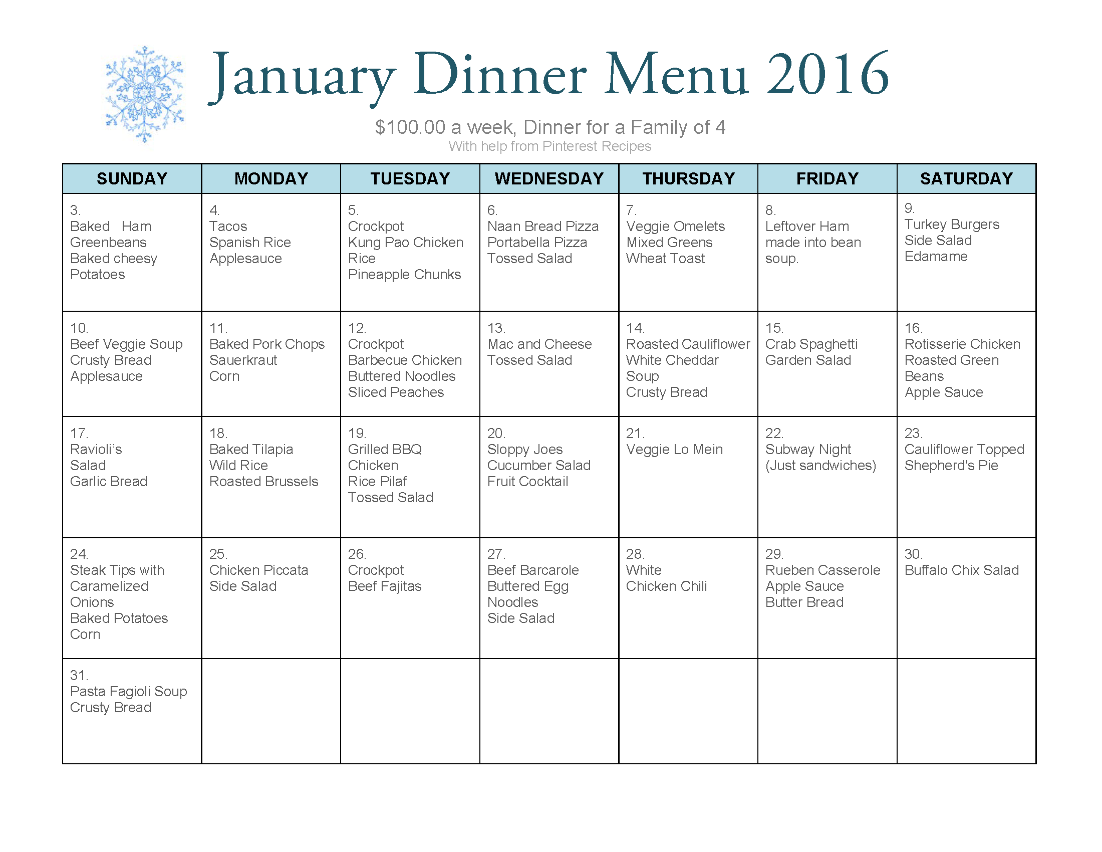 100 a week meal plan for a family of 4 Dinner menu