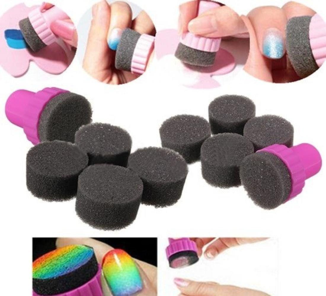 1 Set Superb Nail Polish Sponge Stamper Shade Manicure