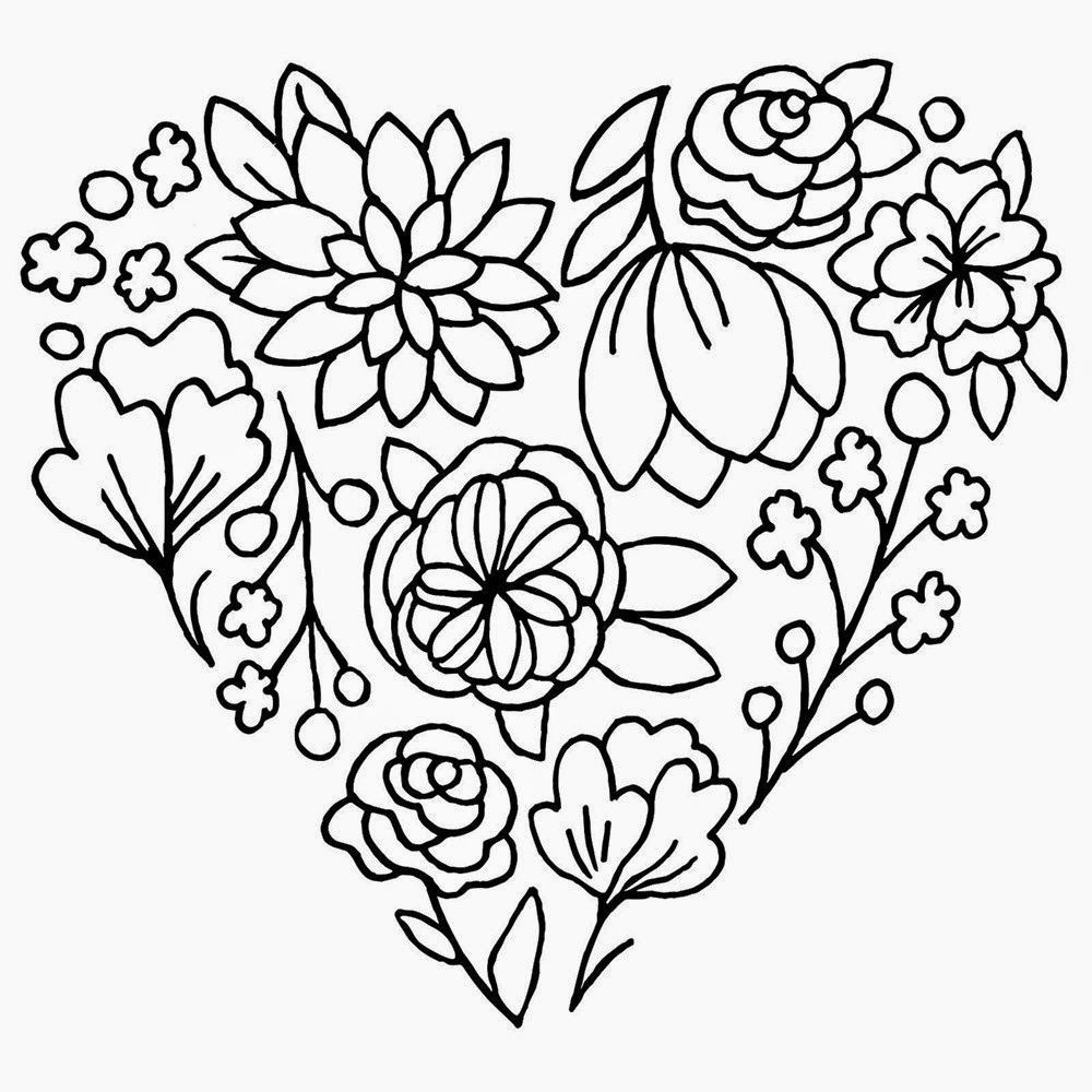 Roxybonds Close To My Heart Blooming Heart Stamp Set Floral Embroidery Patterns Mandala Coloring Pages Easter Embroidery Patterns