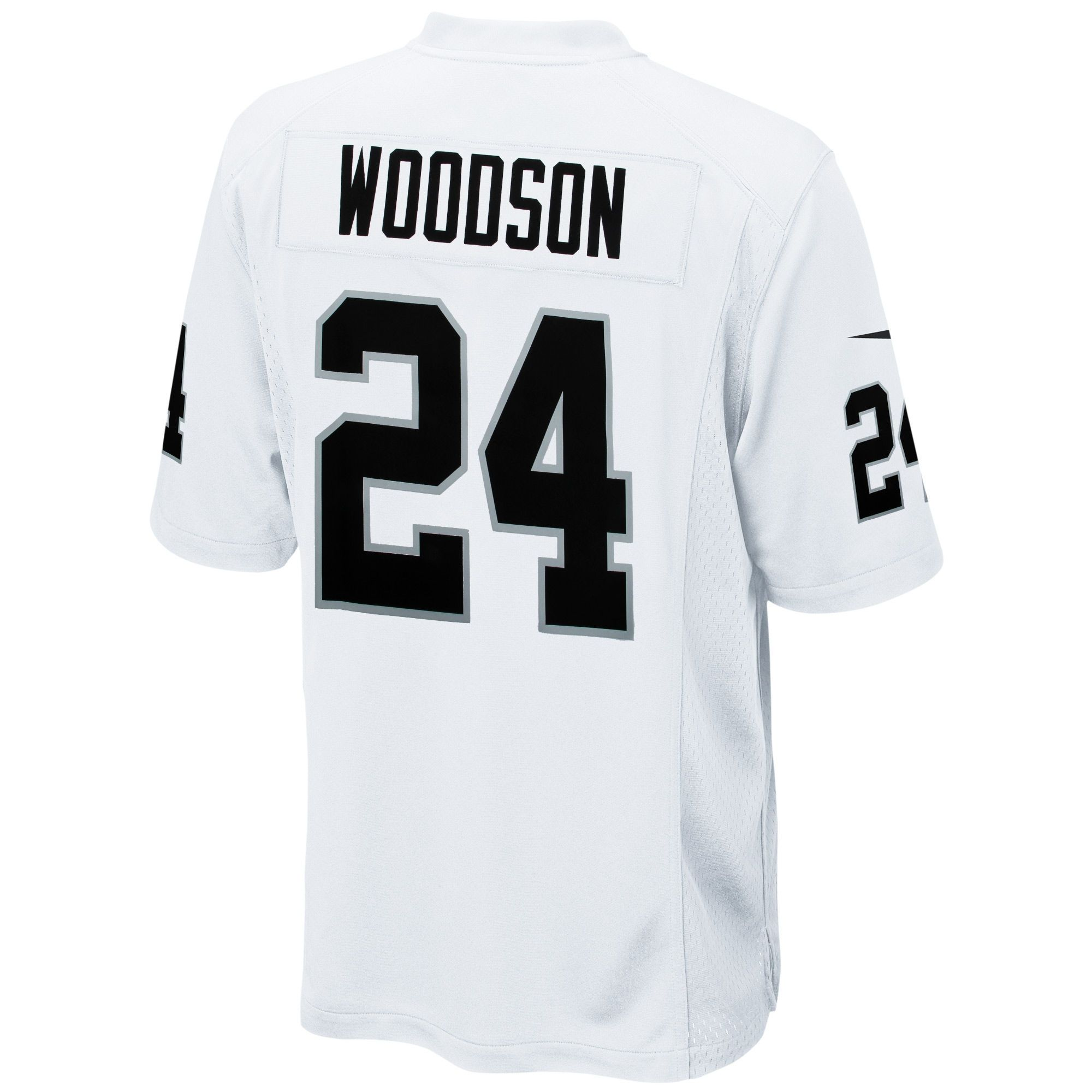official photos 12901 ee64f Mens Oakland Raiders Charles Woodson Nike White Game Jersey ...