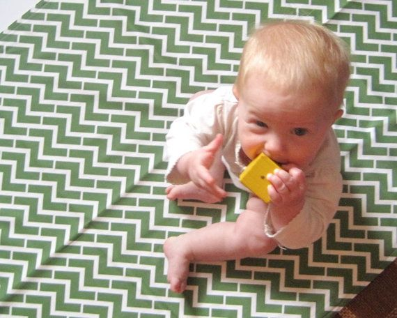 Green Chevron Organic Baby Blanket - XL Double Eco Friendly Blanket with Flannel - Modern Baby Boys Gift Under 75 (Exclusive to SewnNatural)