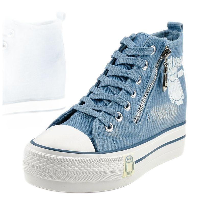 Niebieskie Sneakersy Na Koturnie Sznurowane Lynnhurst High Top Sneakers Converse High Top Sneaker Chucks Converse