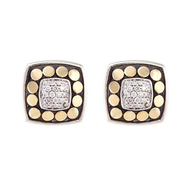b0d9fa35a2c John Hardy Diamond 18k yellow gold square stud earrings ( 1