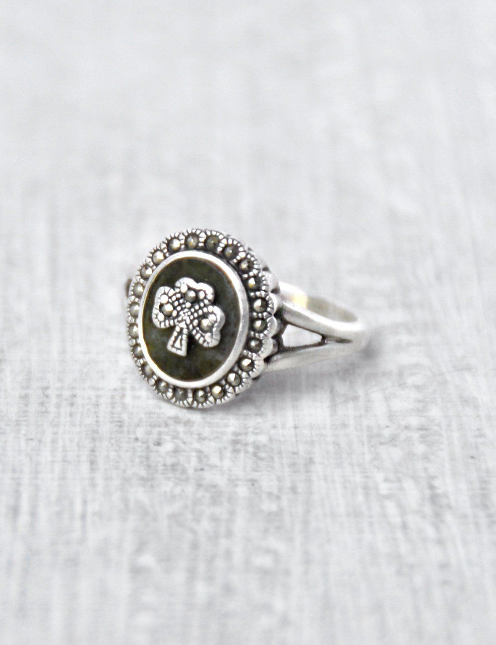 cf6857e94 Vintage Connemara Marble Shamrock Ring - sterling silver marcasite scalloped  oval - drab green stone - Irish good luck charm - Size 7 by  CuriosityCabinet on ...