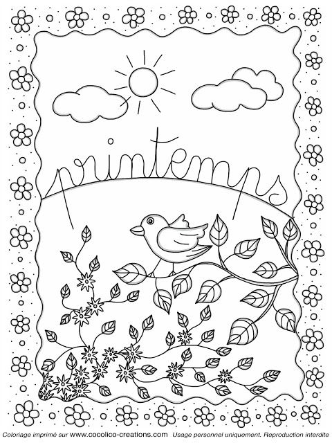 Cocolico creations coloriages la classe pinterest coloriage coloriage printemps et printemps - Dessin de printemps a imprimer ...