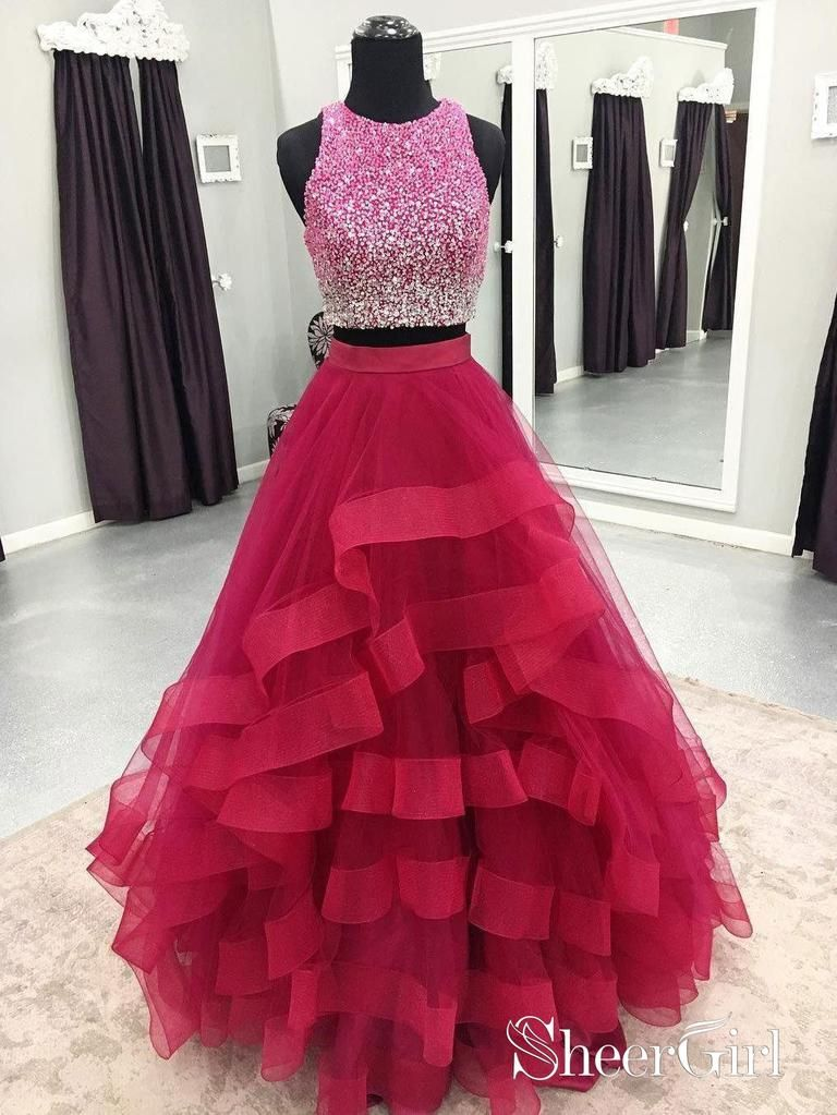 9d29826dc07 Two Piece Organza Prom Dresses Cheap Sequins Formal Quinceanera Dresses 2018  APD3286-SheerGirl