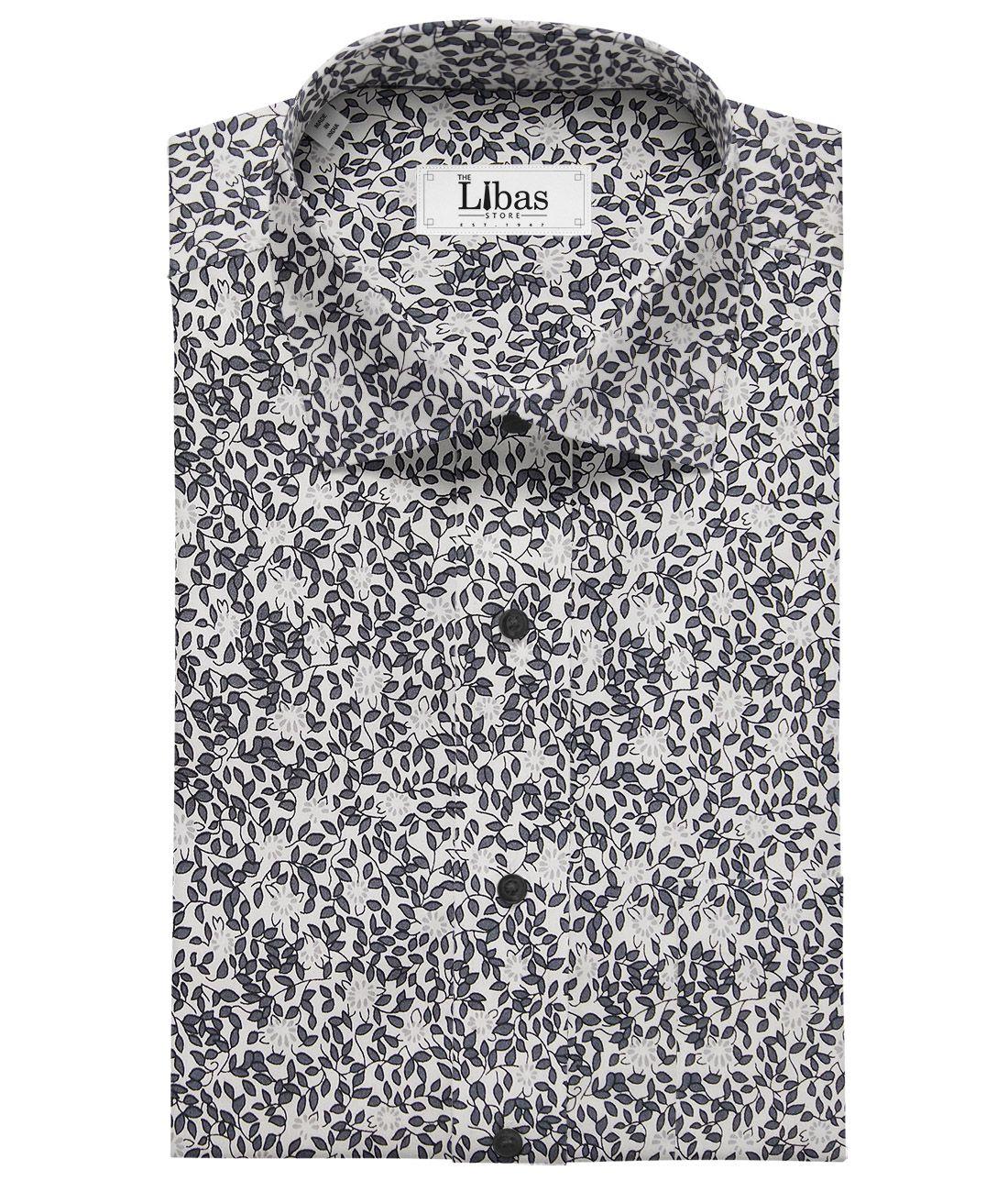 14e8f9b61 Solino White 100% Premium Cotton Dark Grey Floral Printed Shirt Fabric  (1.60 M)