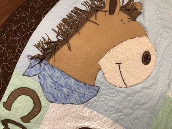 Baby cowboy quilt pattern pony up cute horse western quilt
