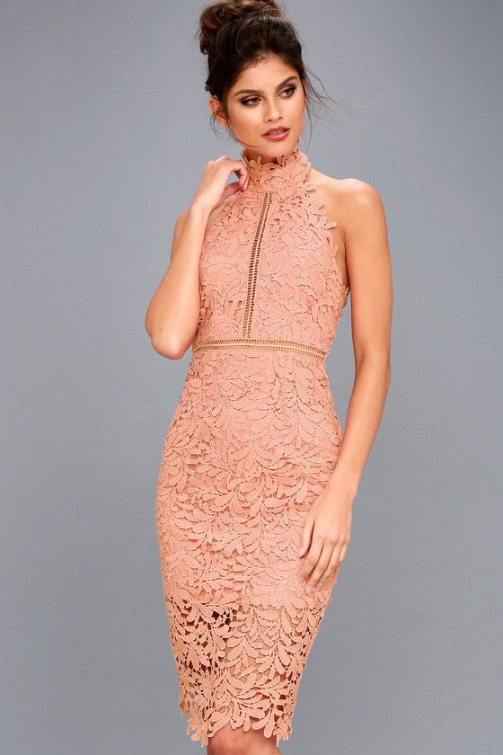 ae6d4b374e071 You re fated to look fabulous in the Divine Destiny Blush Pink Lace Midi  Dress! Intricate lace overlay sweeps from a halter neckline (with hook  clasps)